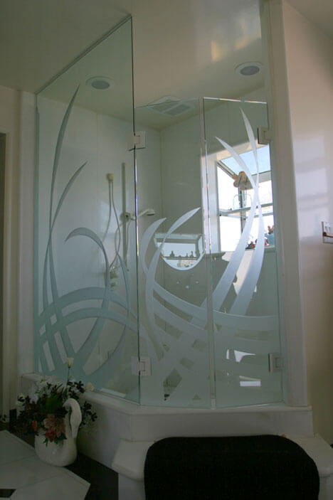 Etched Glass Shower Enclosures
